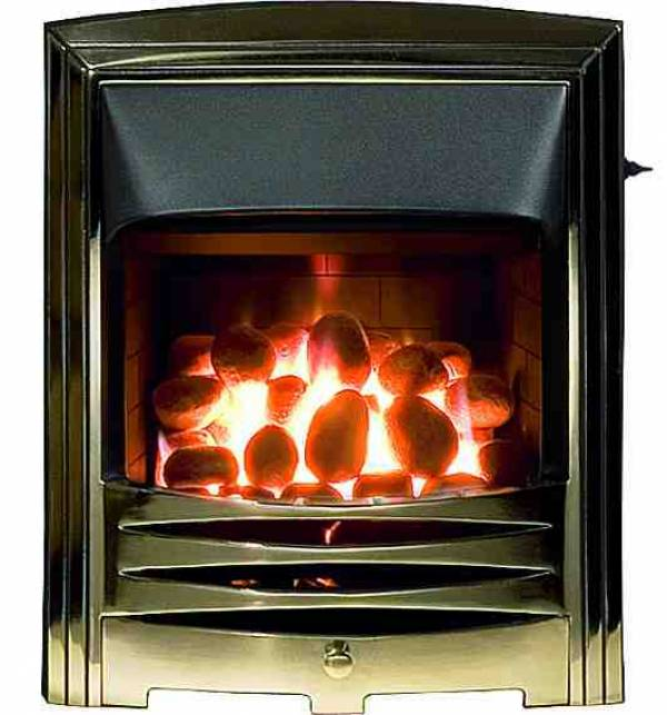 Open Fronted Convector Gas Fire - Solaris Antique Brass Frame