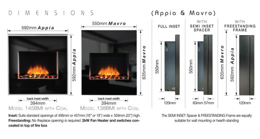 Appia Wall Mounted Electric Fire